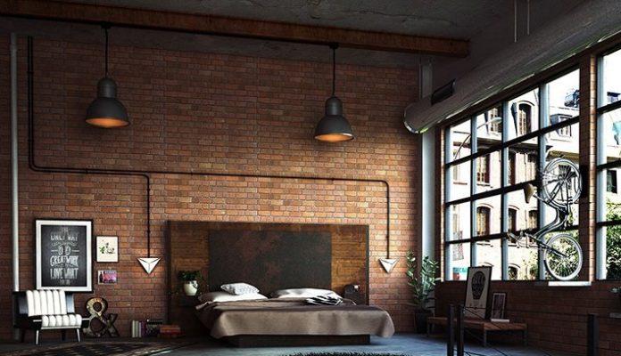 lampy loftowe na tle ściany z cegły